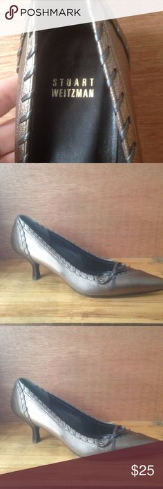 Stuart Weizmann Beautiful Kitten Heels.                             Gorgeous Metallic Color.                        Like New                                                   EUC Stuart Weitzman Shoes Heels