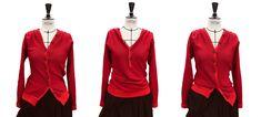 "Trésor du mois: ""Karen Cardigan"" - AÉTHÉRÉE Red Leather, Leather Jacket, Karen, Pullover, Suit Jacket, Breast, Blazer, Suits, Jackets"