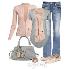 Light gray sweater with light jeans and pink scarf