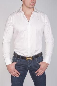 83cffe5d ARMANI COLLEZIONI STRETCH WOVEN WHITE SHIRT Style#: 116649 Stretchy cotton  gives this Armani Collezioni
