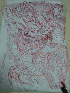 Dragon Tattoo Colour, Black Dragon Tattoo, Dragon Tattoo Back, Dragon Sleeve Tattoos, Dragon Tattoo Designs, Japanese Back Tattoo, Japanese Dragon Tattoos, Japanese Tattoo Designs, Japanese Sleeve Tattoos