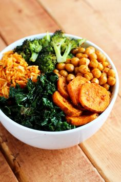 Roasted Vegan Lunch Bowl: chili-lime kale, curry roasted sweet potatoes, sriracha & soy sauce chickpeas, roasted broccoli, and leftover rice. Recipe via lovevegan.com