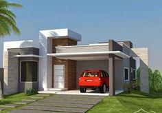 Pequena fachada de casa simples com garagem