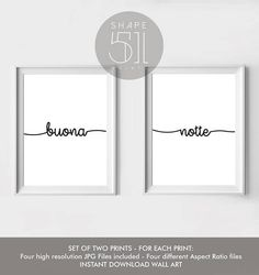 Buona Notte Print set, two printable wall art prints, Bedroom wall art, Poster, Set of two prints, Italian Good night, modern, minimalist  DIGITAL DOWNLOAD - NO PHYSICAL PRINTS OR FRAME ARE INCLUDED. You are purchasing digital files only. After your payment clears with Etsy, the files will be automatically made available to download.  Your purchase includes four high-resolution 300 dpi JPG files in different aspect ratios for each print. All files are included in a ZIP folder. With these…