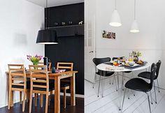 jadalnia wmałym mieszkaniu czarne elementy wkuchni