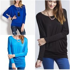 3 new colors dolman tunic tops Royal blue, turquoise & black in our favorite dolman sleeve tunic tops. Comment with color & size and I will create a new listing for you. Small (2/4) Medium (6/8) Large (10/12) XL (14).....Price is firm unless bundled. Tops