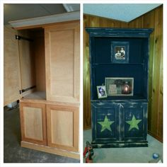 $25 armoire from Goodwill upcycled to a primitive shelf