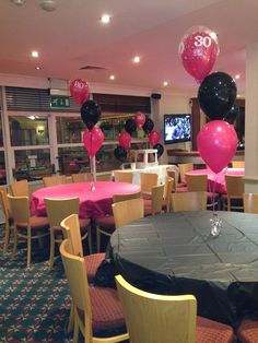 30th Birthday party balloon displays, at Abbey Hill golf centre, Milton Keynes