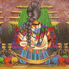 En esta imagen se puede apreciar una  joven indígena con un traje típico tz-utujil y en los textiles que y también manejan ellos.  Clave 24 Guatemalan Art, Mayan Language, Lake Atitlan, Drawing Sketches, Drawings, Mexican Folk Art, Art Of Living, Textiles, Painting & Drawing