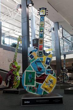 Guitar display at Austin-Bergstrom International Airport. Austin has a good reputation for live music. Austin, Texas, Monday 13 June 2011.