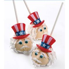 Puffy Patriotic Hat Cupcake Rings Decorations,,,only if I knew how to make cake pops!