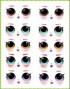 AngelMix e.a in Memories: How to Make a Decorated LOLs Notebook Polymer Clay Figures, Polymer Clay Crafts, Doll Eyes, Doll Face, Royal Icing Templates, Face Template, Eye Stickers, Cartoon Eyes, Fondant Animals