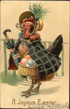 Art~ Easter Chicken With Basket Of Eggs ~ Animals Dressed Up.