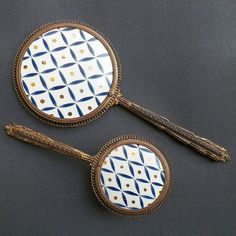 50% OFF Was $225.00 Vintage Blue White Gold Hand Painted Porcelain Hand Mirror & Hair Brush