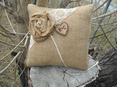 Personalized  Rustic Burlap and Lace Wedding Pillow-Burlap Ring Bearer Pillow