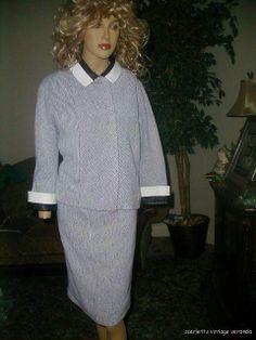 Rare 50s Vtg Gino Paoli Italian B/W Leather Wool Knit Edgy Avant Garde 2-Pc Suit