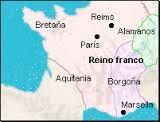 (44) (500) – Desde su establecimiento inicial en el norte de la actual Francia, se extendieron sobre la mayor parte de las antiguas diócesis romanas  previamente ocupadas por los reinos germánicos de visigodos (reino visigodo de Tolosa) y burgundios (reino burgundio), y sobre territorio de germanos no romanizados, como alamanes, turingioso bávaros. Ese conjunto territorial se extendía sobre los actuales Bélgica, Luxemburgo y Suiza, la casi totalidad de los actuales Países Bajos,