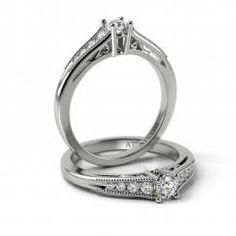 Inel de logodna aur alb cu diamante Felix