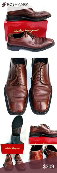 Salvatore Ferragamo Brown Leather Lace-Up Shoes 12 Salvatore Ferragamo Brown Leather Lace-Up Shoes- Men's Size 12. In excellent condition with minor signs of wear. Salvatore Ferragamo Shoes