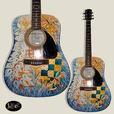 Juleez Custom Painted Fender Acoustic Guitar Dragonfly Peacock