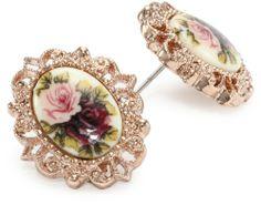 1928 Jewelry Victorian Revival Golden Rose Stud Earrings - 1928, Earrings., Golden, Jewelry, Revival, Rose, Stud, Victorian http://designerjewelrygalleria.com/1928-jewelry/1928-earrings/1928-jewelry-victorian-revival-golden-rose-stud-earrings/