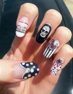 """I've always been told, """"Linda, every time you do my nails they're always done right! I've loved doing nails since the very nail salon way back in June Skull Nail Art, Skull Nails, 3d Nail Art, 3d Nails, Gothic Nails, Nail Charms, Salon Services, Rhinestone Nails, Nail Colors"""