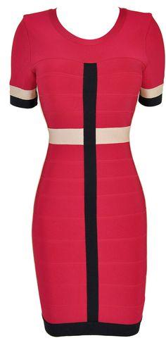 $135 Fuchsia Pink Colorblocked Bandage Dress