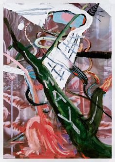 Julian Schnabel, Crazy Town, 2012, oil, resin on polyester, 131.89 x 91.73 inches.