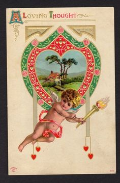 Valentine Postcard cherub/Cupid with torch, loving countryside landscape