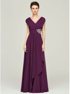 A-Line/Princess V-neck Floor-Length Chiffon Mother of the Bride Dress With Beading Sequins Cascading Ruffles (008062562) - JJsHouse