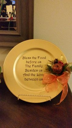 Prayer before meal charger plate