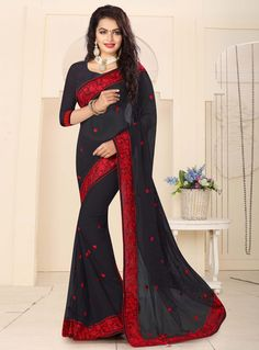 Black Georgette Saree With Blouse 104290
