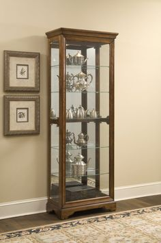 Shop Madison Traditional Brown Oak Wood Glass Metal Curio with great price, The Classy Home Furniture has the best selection of to choose from Pulaski Furniture, Home Furniture, Thing 1, Wood Glass, Glass Shelves, Old World, Storage Spaces, Curio Cabinets, Display