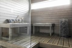 moderni sauna Saunas, Interior Design, Table, Furniture, Home Decor, Trendy Tree, Cottage Bath, Nest Design, Decoration Home