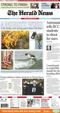 The front page of The Herald News for Tuesday, Nov. 22, 2016.