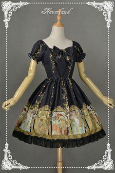 Neverland Lolita -Mucha Four Seasons- Printed Lolita OP Dress $75.99 - My Lolita Dress