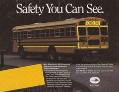 """""""Safety You Can See"""" Blue Bird's 3M Scotchlite Diamond Grade Reflective Safety Markings Tape On All Blue Bird Buses. courtesy of schoolbuscollector.com School Buses, Vintage Advertisements, Blue Bird, Tape, Safety, Canning, Diamond, Yellow, Security Guard"""