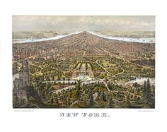 Manhattan New York with Central Park in the foreground 1873  Vintage Reproduction Print Art Poster Map NY0091