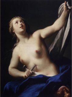 Adrea Casali - Lucretia 1750  검은 배경과 하얀 여인의 속살, 그리고 짙은 파랑의 천조각. 여인은 자신의 복부를 칼로 찌른다. 여기서 Blue가 가지는 우울함과 비극의 느낌이 잘 드러난다.