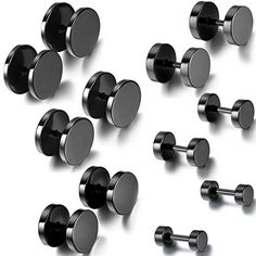 Aroncent 12PCS 6 Pairs 4-14mm Stainless Steel Black Tapers Cheater Faux Fake Ear Plugs Gauges Stud Earrings Set -- Details can be found by clicking on the image.