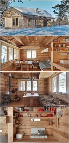 This 118 ft2 small Norwegian ski cabin comfortably accommodates a family of four. #tiny house