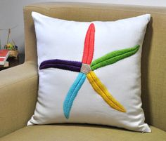 Starfish Decorative Pillow, White Linen with Colorful Starfish Embroidery, Beach Pillow, Cottage Pillow, Couch Pillow 26.00-16X16 /// 27.00-18X18 /// 29.00-20X20 /// 35.00-24X24 /// 37.00-26X26