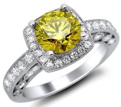 1.96ct Fancy Canary Yellow Round Diamond Engagement Ring 18k White Gold