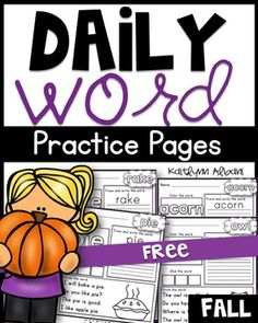 These daily word practice pages are great for morning work, word work, literacy centers, early finishers, extra practice and much more! Send them with your students to practice at home!The format of these pages match those of my sight word practice packets with a fun, fall spin!