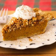 The decadent Toffee-Almond Crunch topping gives a wonderful texture to this twist on traditional pumpkin pie./