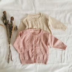 Hollow Knitted Cardigan Baby Girl Sweaters, Summer Sweaters, Kids Tops, Summer Baby, Spring Summer, Knit Sweater Dress, Toddler Outfits, Knitwear, Kids Fashion