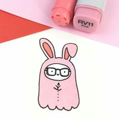 53 New Ideas Drawing Cute Bunny Rabbit Cute Kawaii Drawings, Kawaii Doodles, Cute Doodles, Doodle Drawings, Easy Drawings, Doodle Art, Diy Kawaii, Kawaii Art, Copic Marker Art