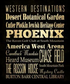 Phoenix, Arizona, Typography Art  Canvas / Bus  / Transit / Subway Roll Art 20X24 - Phoenix's Attractions Wall Art Decoration -  LHA-192