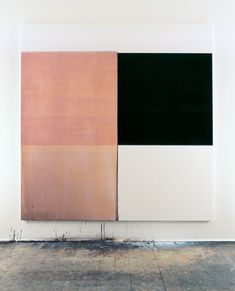 Exposed Painting, Paynes Grey/Yellow Oxide/Red Oxide on White (1999) - Callum Innes