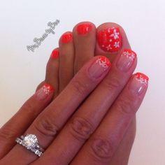 Summer fun neon orange nails. Orange French manicure stamped with Konad flowers nail art. Gelish Tiki Tiki Laranga. ☀  Nail plate used:  Konad m57